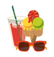 juice cup with ice cream ans sunglasses cartoon vector image vector image