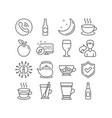 latte teapot and tea mug icons beer glass vector image
