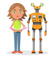 little girl with book and iron robot vector image