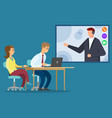 man and woman have call with manager meeting vector image vector image