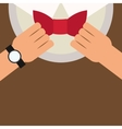 man putting bowtie on icon vector image vector image