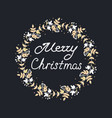merry christmas wreath with leaves and floral vector image