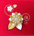 origami art flower made paper realistic plant vector image vector image