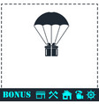 parachute gift box package icon flat vector image vector image