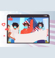 people in masks holding usa flags labor day vector image