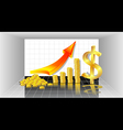 Profit with Gold Coins red arrow and with dollar vector image