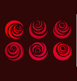 red rose flower abstract stylized petal circle vector image