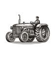 retro farm tractor sketch vintage vector image vector image