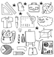 School education doodles suplies bag paper board vector image vector image