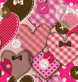 seamless pattern heart patchworks and buttons vector image