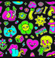 surreal trippy seamless pattern with mushrooms vector image
