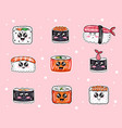 sushi with cute faces japanese food with fish vector image vector image