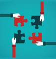 teamwork abstract concept with jigsaw puzzle in vector image vector image