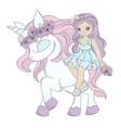 unicorn friend princess party cartoon illus vector image vector image