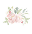 watercolor pink peony and wild strawberry bouquet vector image