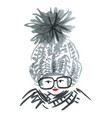 woman wearing knitted hat and glasses vector image