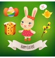 Bunny Girl and Easter Symbols vector image