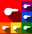 whistle sign set of icons with flat vector image