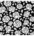 roses seamless pattern on black backdrop vector image