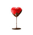 strawberry with chocolate dipping valentine day vector image