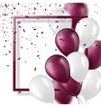 3d balloons with confetti and frame vector image vector image