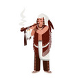 american indian man wearing traditional clothes vector image
