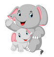 an elephant funny is playing with a little elephan vector image vector image