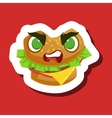 Angry Burger Sandwich Cute Emoji Sticker On Red vector image vector image