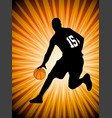 basketball player on the abstract orange backgroud vector image vector image