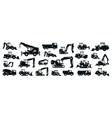 big black-white set construction equipment vector image