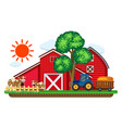 big red barns and two cows in the farm vector image vector image