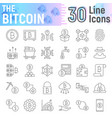 bitcoin thin line icon set cryptocurrency symbols vector image