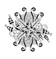 black and white symmetrical circular pattern in vector image vector image
