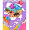 bright birthday card with cute kids vector image vector image