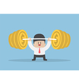 Businessman lifting up barbell with coin weight vector image vector image