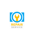 camera repair service logo on white vector image vector image