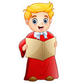 cartoon boy singing christmas carols vector image vector image