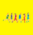 cartoon jogging characters people on a yellow vector image vector image