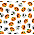cartoon skull and pumpkin seamless pattern on vector image vector image