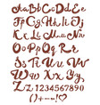 chocolate english alphabet brown handwritten vector image vector image