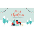 christmas and happy new year family wintertime vector image vector image