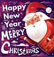 christmas with santa claus and text vector image vector image