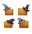 collection of cartoon witch hats on wood desk vector image