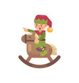 cute christmas elf riding a rocking horse santa vector image vector image
