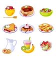 Different Breakfast Dishes Assortment Set Of vector image vector image