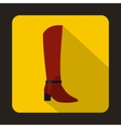 Female red fashion boots icon flat style vector image vector image