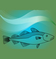 fish monoline drawing on sea lagoon colored vector image
