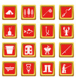 fishing tools icons set red vector image vector image