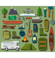 flat design modern camping and hiking equipment vector image