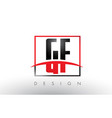 gf g f logo letters with red and black colors and vector image vector image